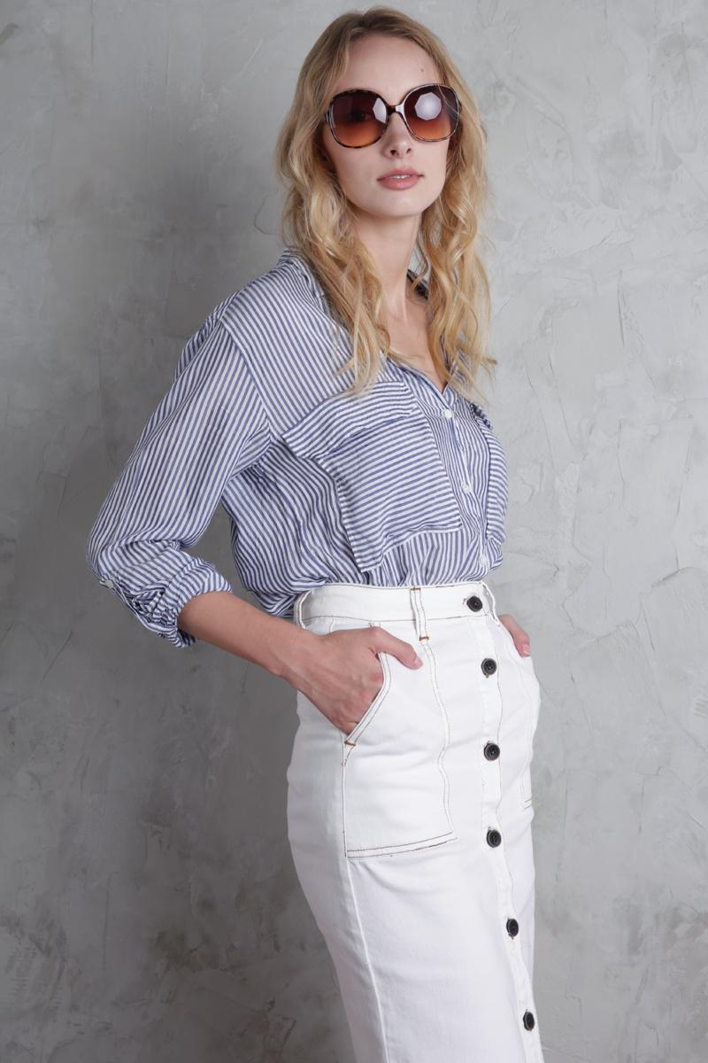 62dfb944b Finders Denim Midi Skirt (White) | The Tinsel Rack