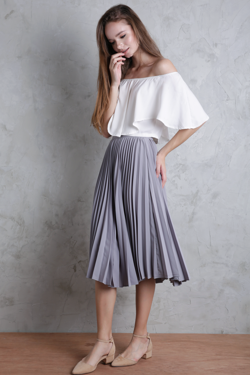 Courtney Pleated Midi Skirt (Dove Grey)