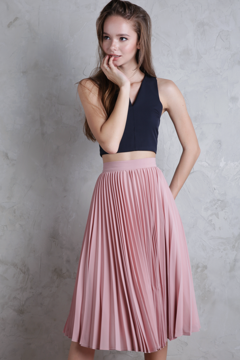 Courtney Pleated Midi Skirt Blush Pink The Tinsel Rack