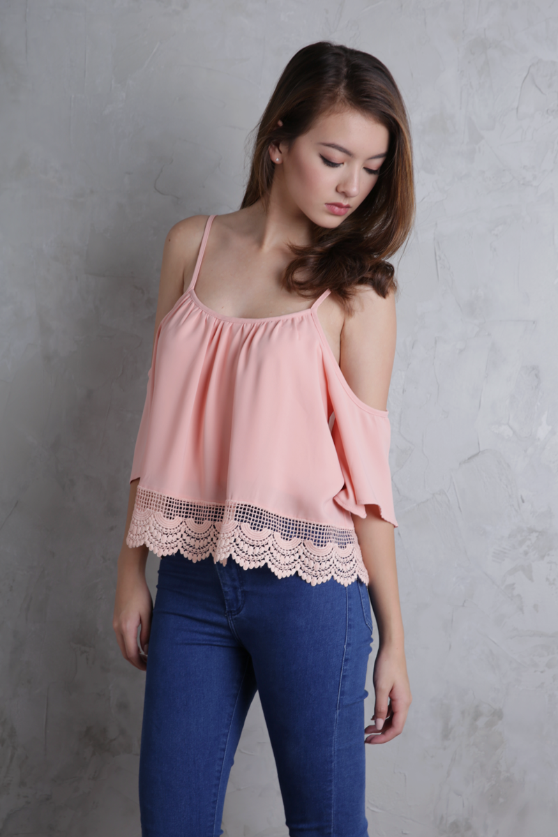 7355d994add Ipanema Cold Shoulder Top (Peach Pink)   The Tinsel Rack