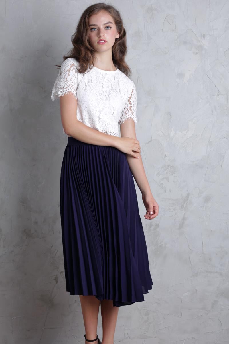 b43c92546 Courtney Pleated Midi Skirt (Indigo) | The Tinsel Rack