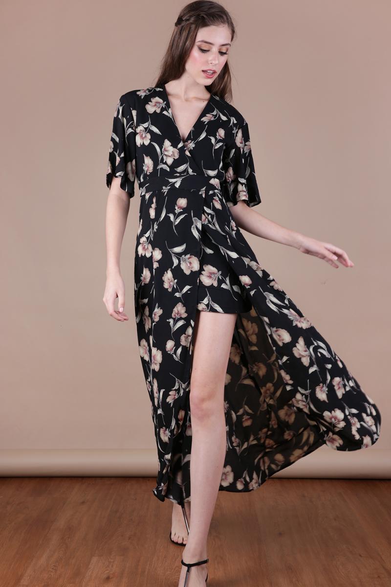 1ceafa3a8cf Palmizana Wrap Front Maxi Dress (Black Florals)