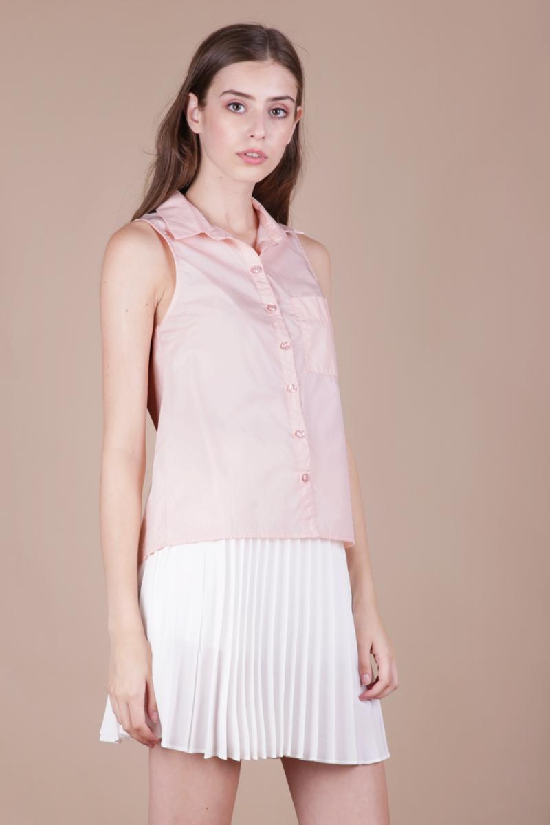 Bess sleeveless shirt pastel pink the tinsel rack for Pastel pink dress shirt