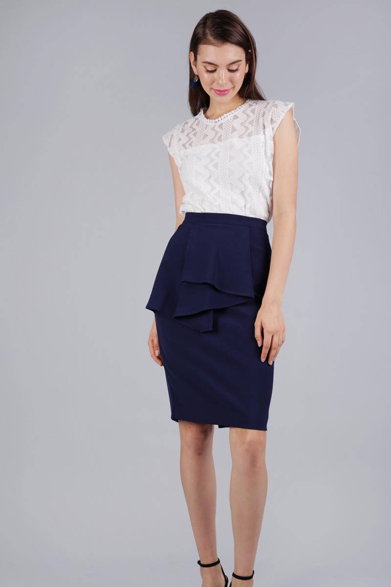 d223faeaa7 Tessie Ruffles Front Skirt (Navy) | The Tinsel Rack