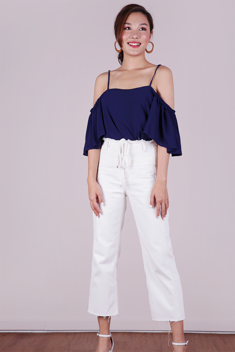 8406a4ded16 Annie Cold Shoulder Top (Navy) | The Tinsel Rack