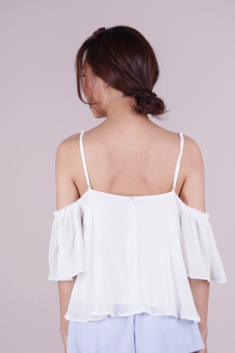 627743df111 Annie Cold Shoulder Top (White) | The Tinsel Rack