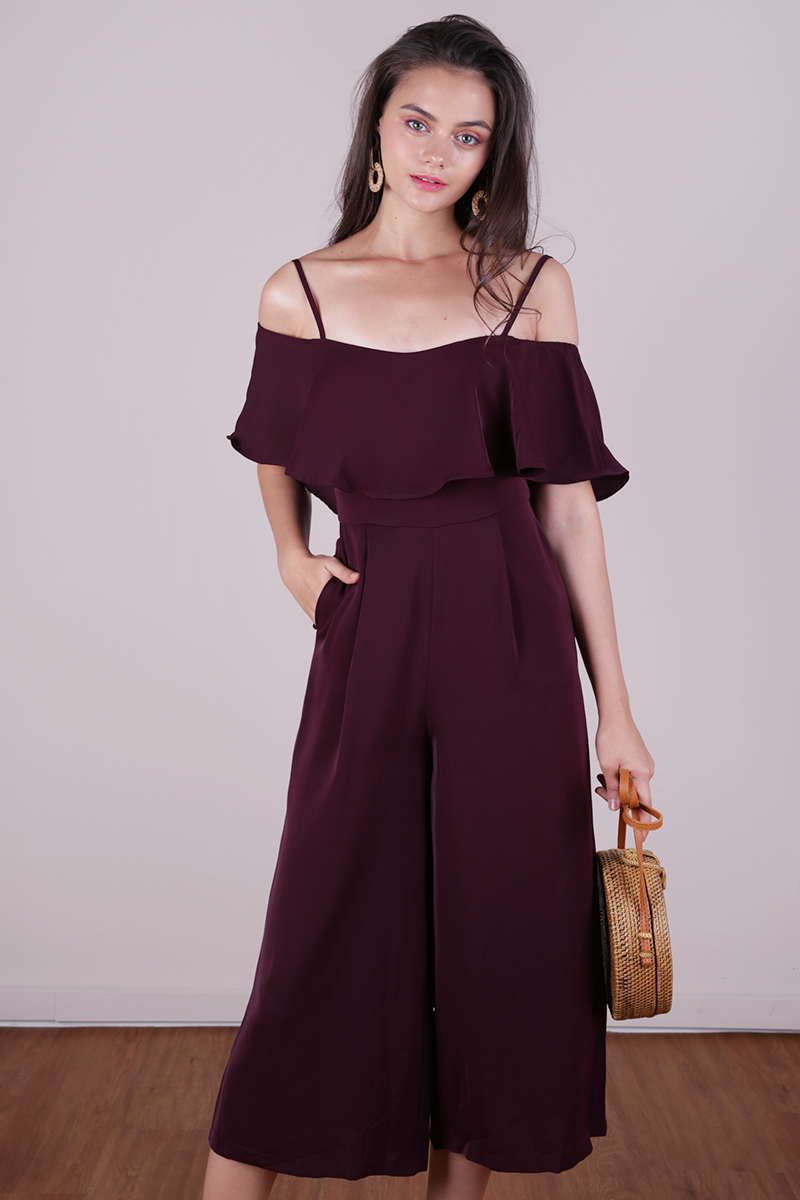 bc9459ea76bcba Lucca Off Shoulder Jumpsuit (Plum) | The Tinsel Rack