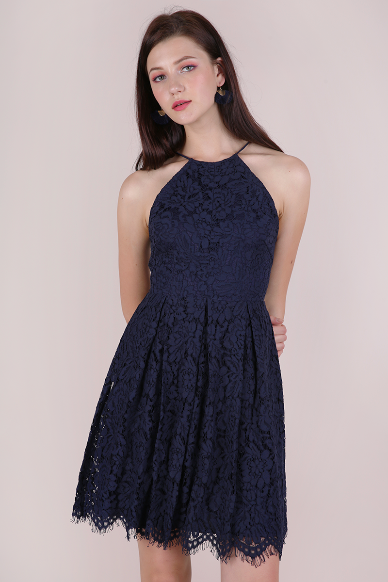 Blossom Halter Lace Dress (Navy)  047762b57