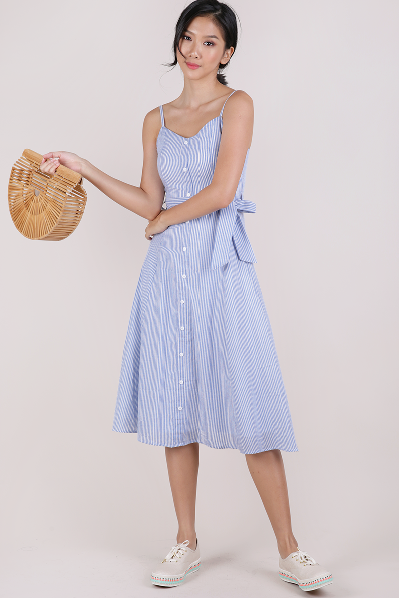 2ddb91e39f05 Izzy V Neck Midi Dress (Light Blue Stripes)