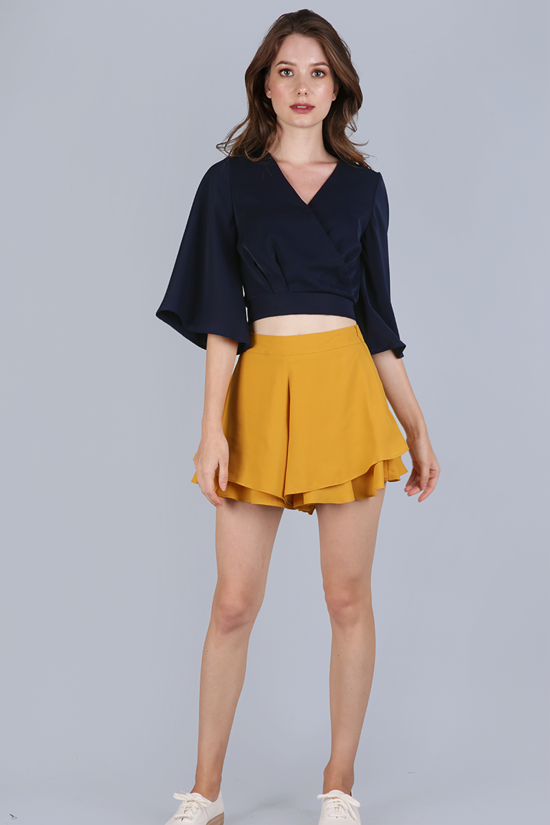 54465ccf9367e Jordyn Flare Sleeve Top (Navy)