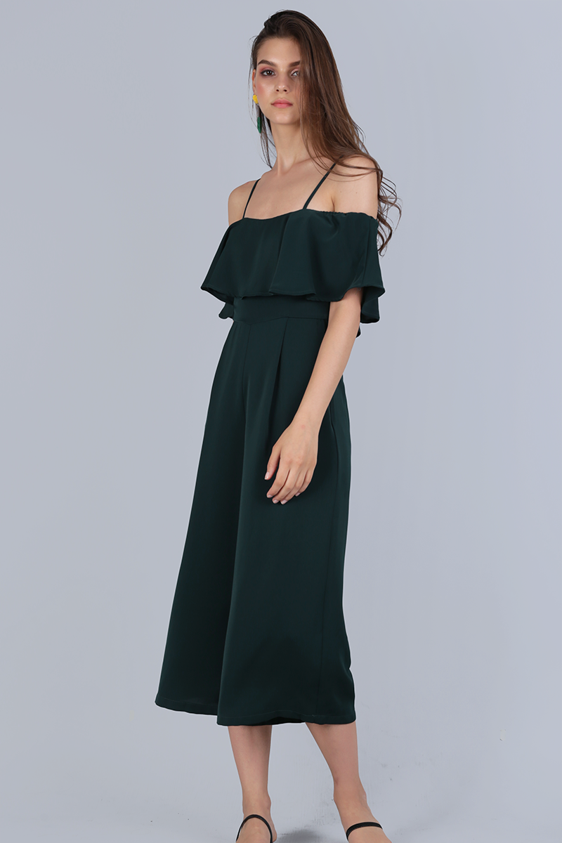 dc7cf433320db0 Lucca Off Shoulder Jumpsuit (Forest Green) | The Tinsel Rack