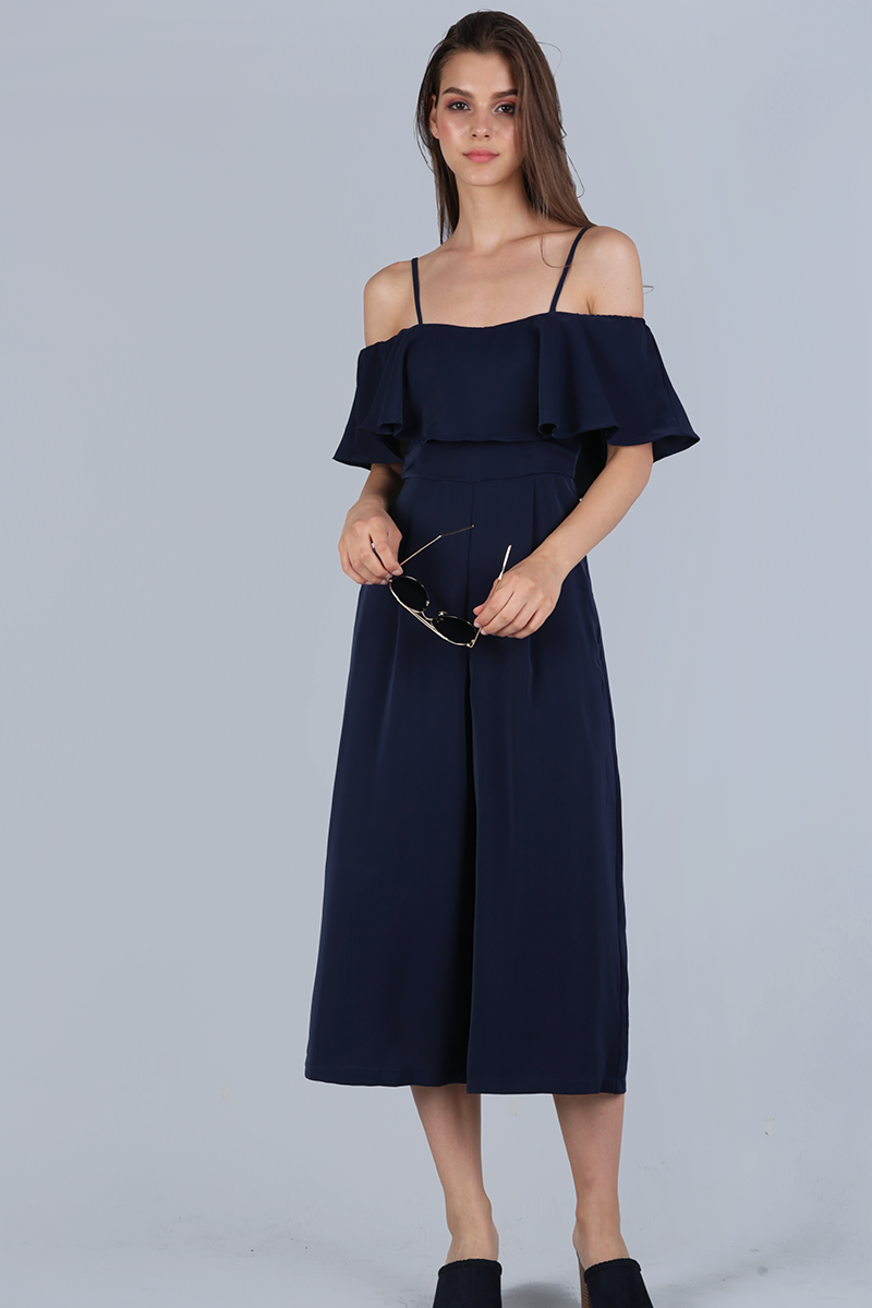 093dba2a5c1d58 Lucca Off Shoulder Jumpsuit (Navy) | The Tinsel Rack