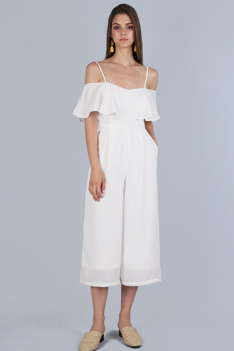 431fe156eb0b24 Lucca Off Shoulder Jumpsuit (White) | The Tinsel Rack