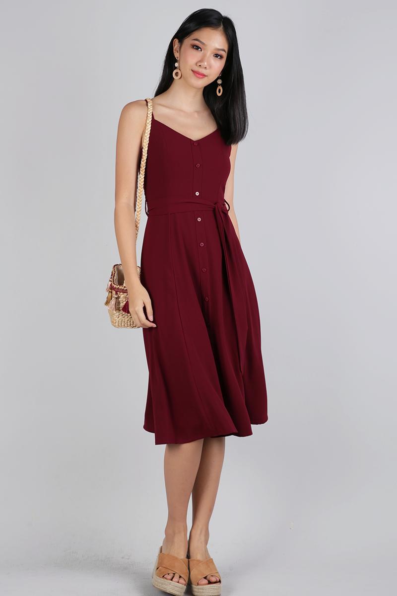 b0ccce132968 Izzy V Neck Midi Dress (Maroon)