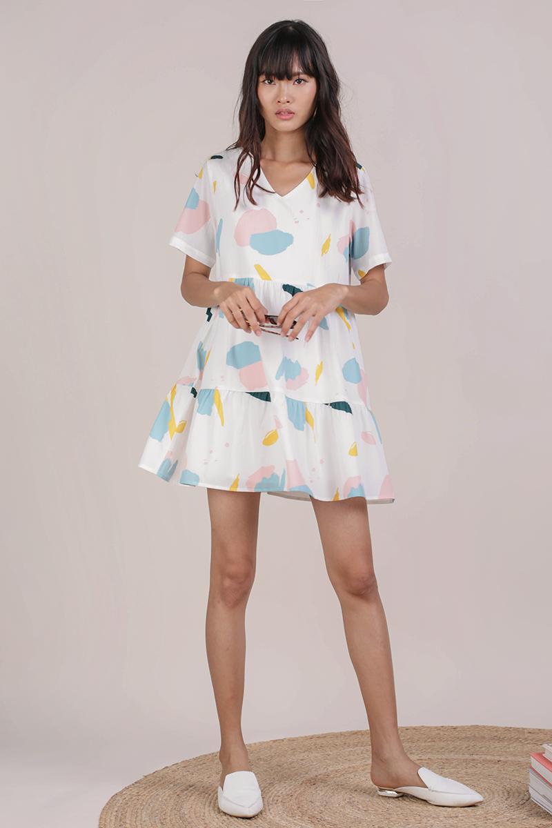 332b36aef Bella Babydoll Dress (Pastel Abstract)