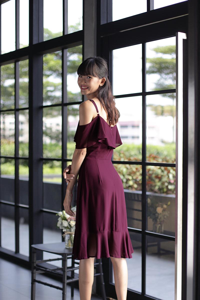 0609a79e99cf Sarah off Shoulder Midi Dress (Wine Red)