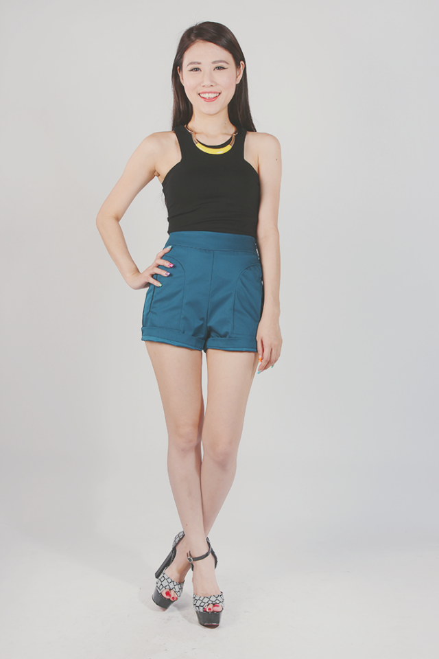 Double Pocket Tailored Shorts (Cerulean Teal)