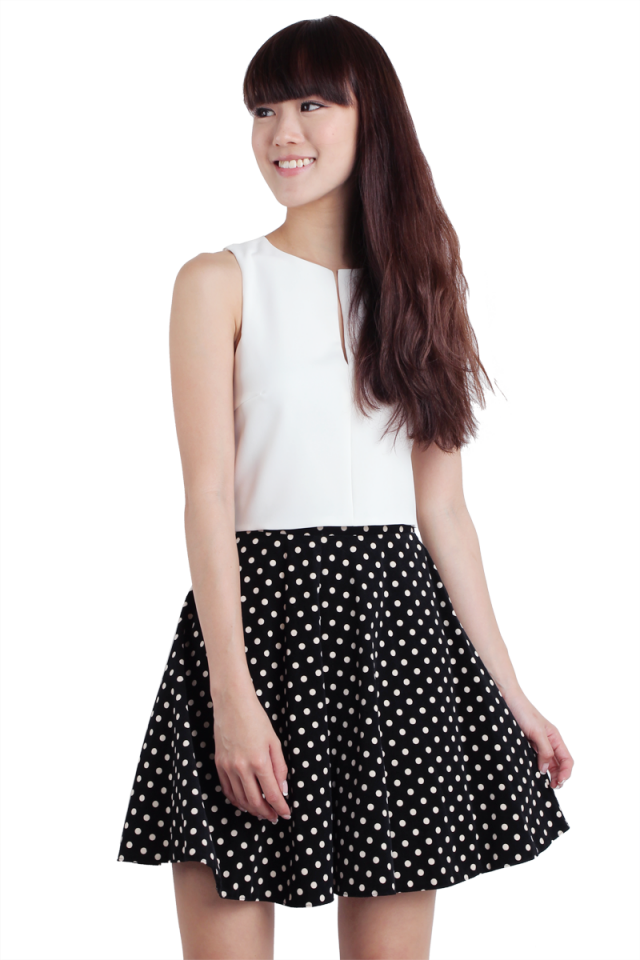 Lora Polka Dots Skirt (Black)
