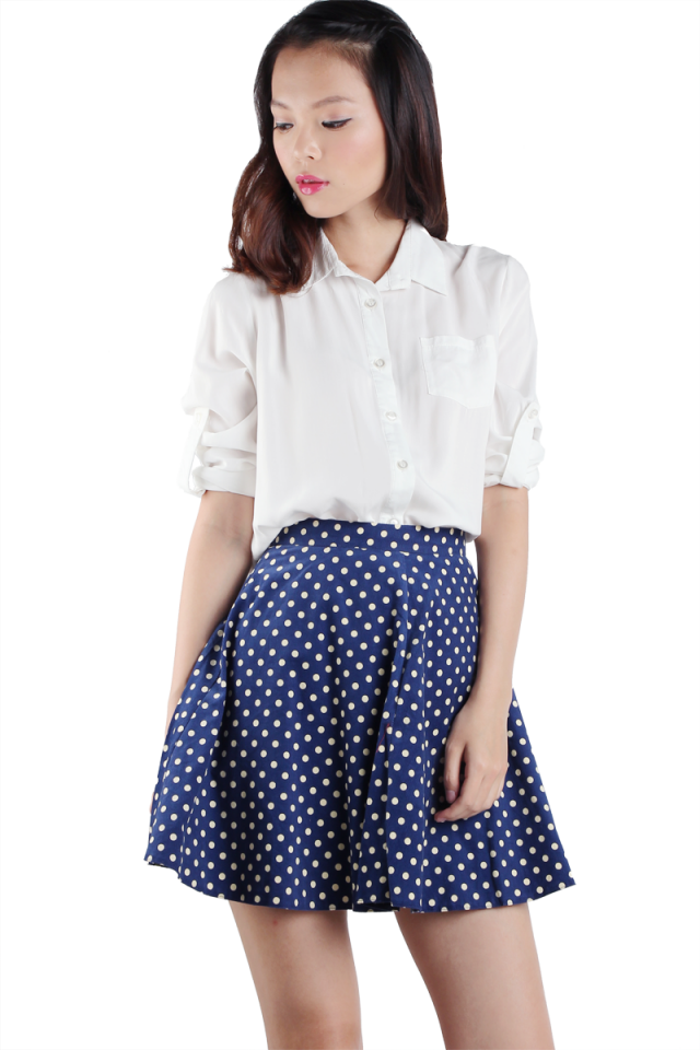 Lora Polka Dots Skirt (Blue)
