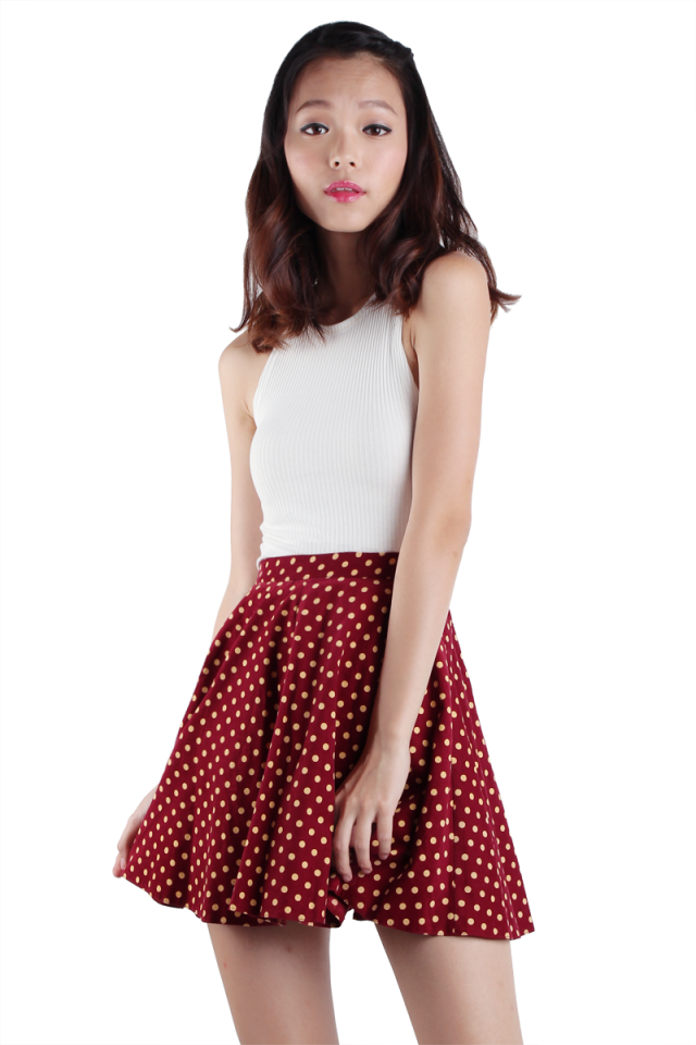 Lora Polka Dots Skirt (Red)