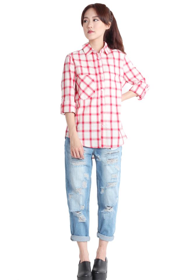 Delancey Boyfriend Shirt (Red)