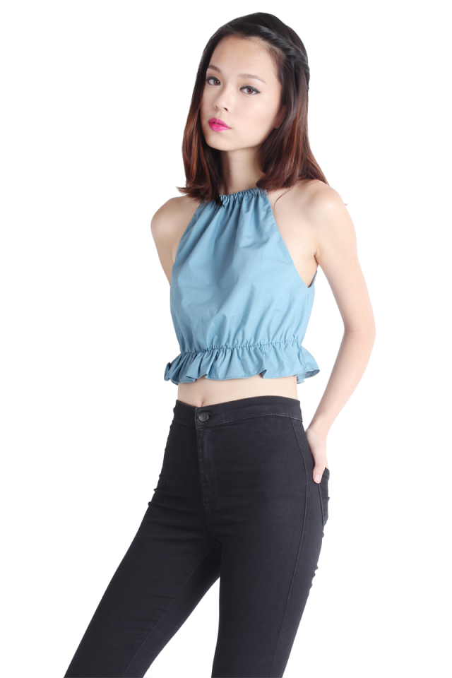 Cher Babydoll Cropped Top (Dusty Blue)