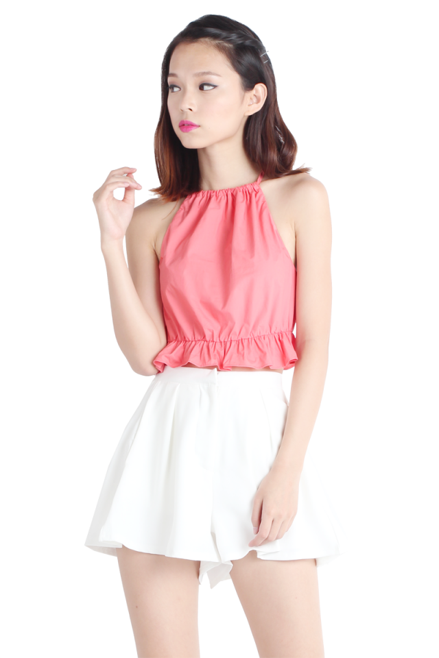 Cher Babydoll Cropped Top (Coral)