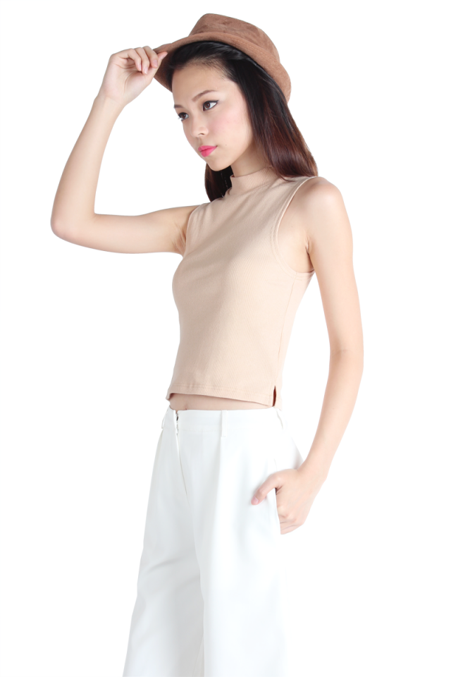 Emma Basic High Neck Top (Nude)