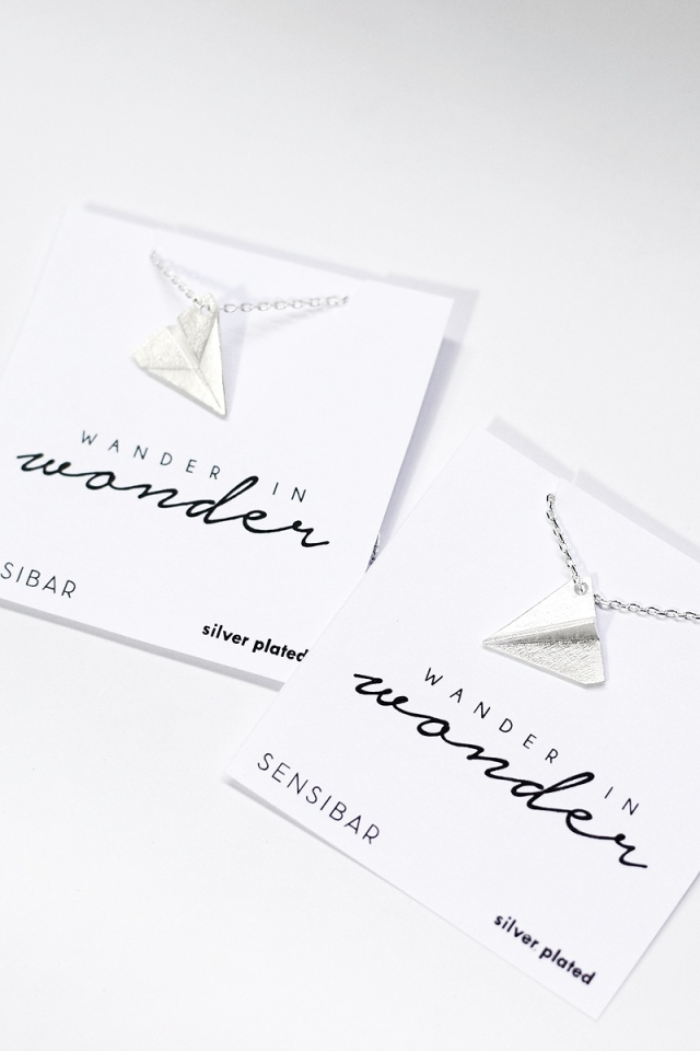 3D Paper Plane Necklace (Silver)