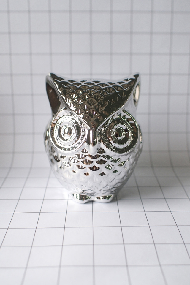Owl Coin Bank (Silver)