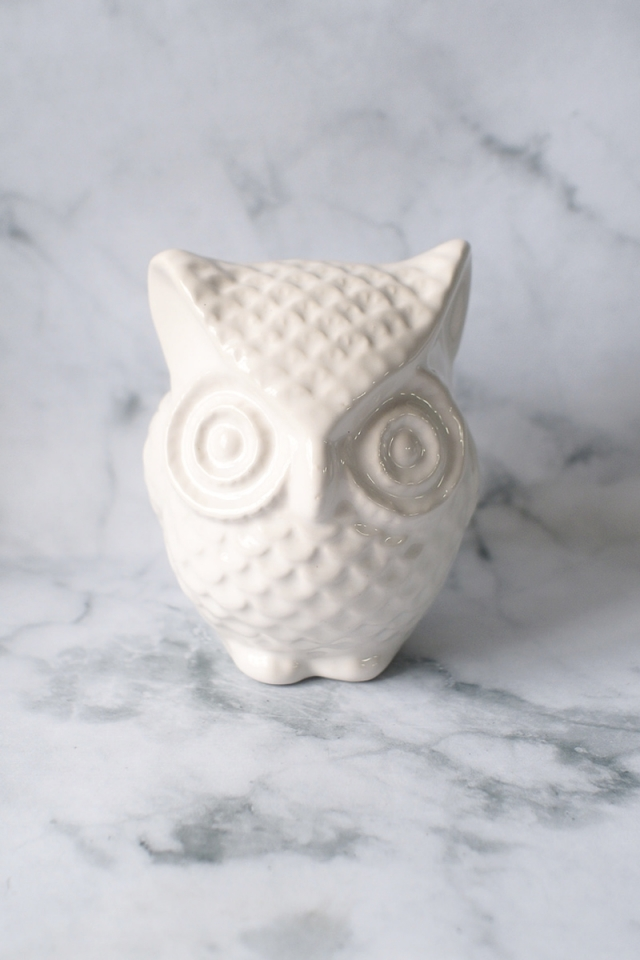 Owl Coin Bank (White)
