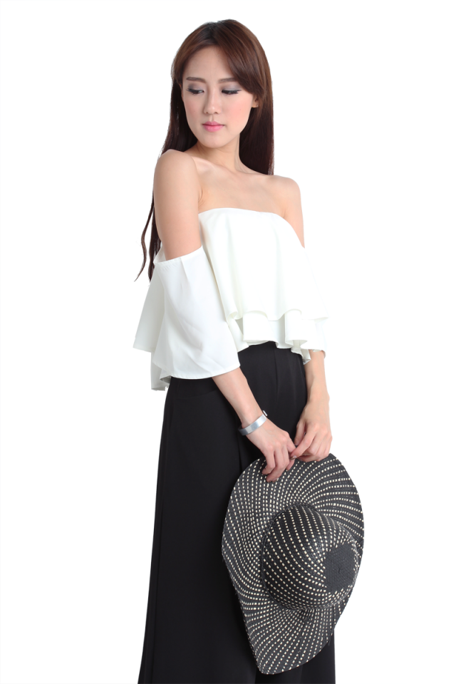 Holly Draped Shoulder Top (Off White)