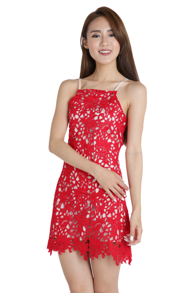 Jen Crochet Dress (Red)