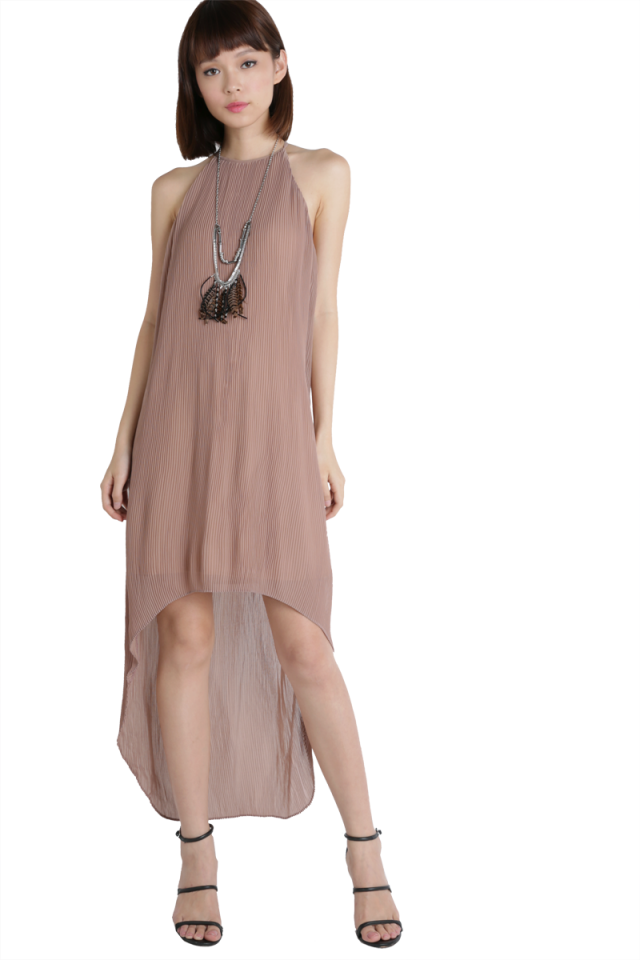 Diya Pleated Dress (Taupe)
