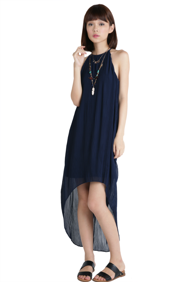Diya Pleated Dress (Navy)