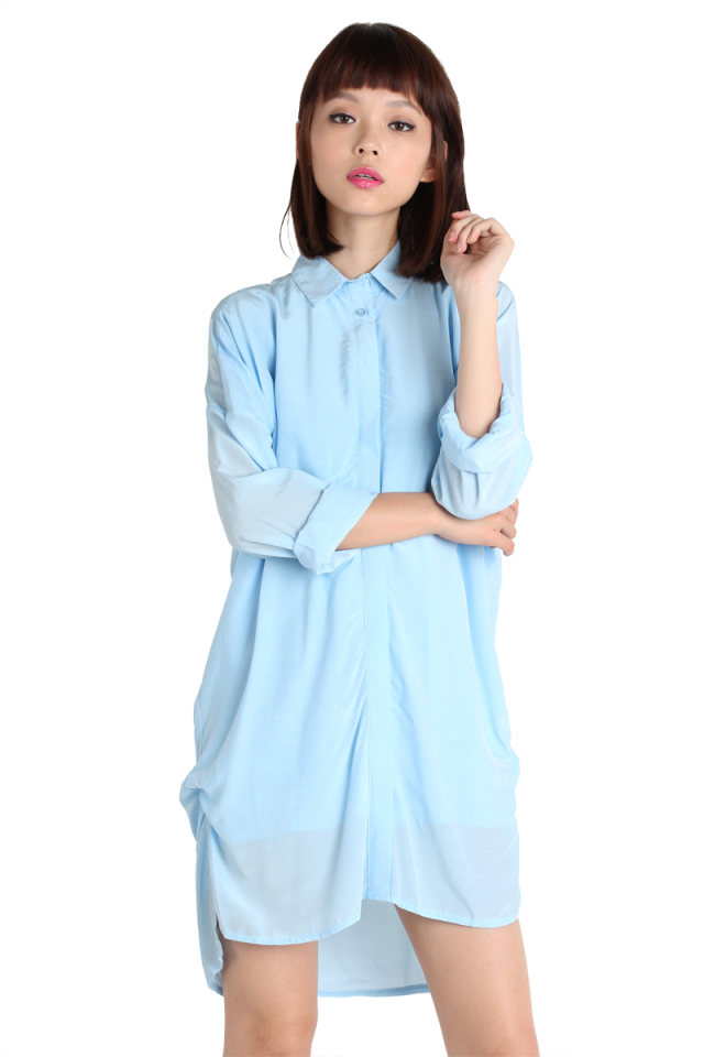 Downtown Shirt Dress (Sky)