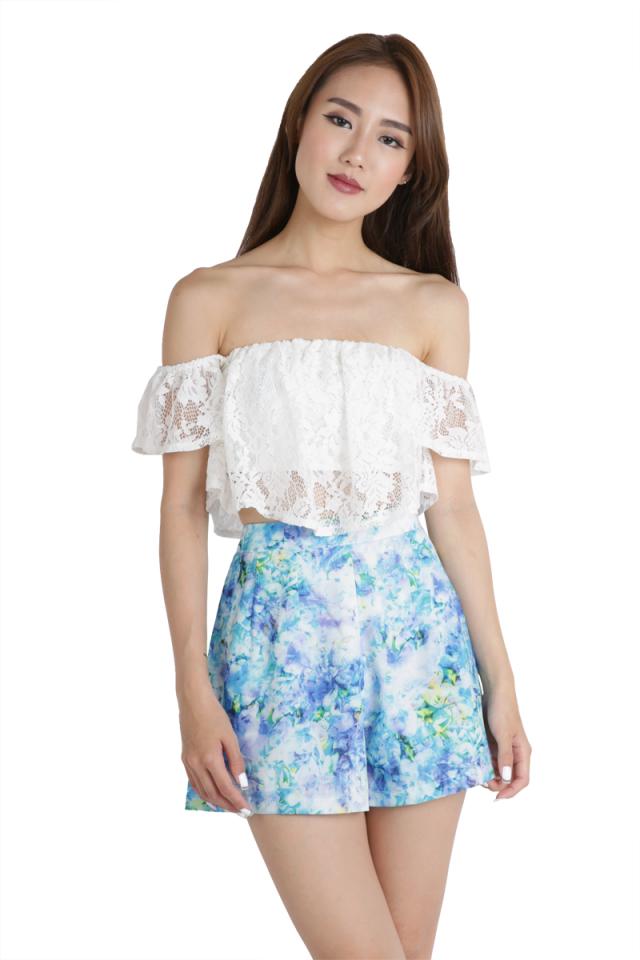 Petal Flare Shorts (Blue Florals)