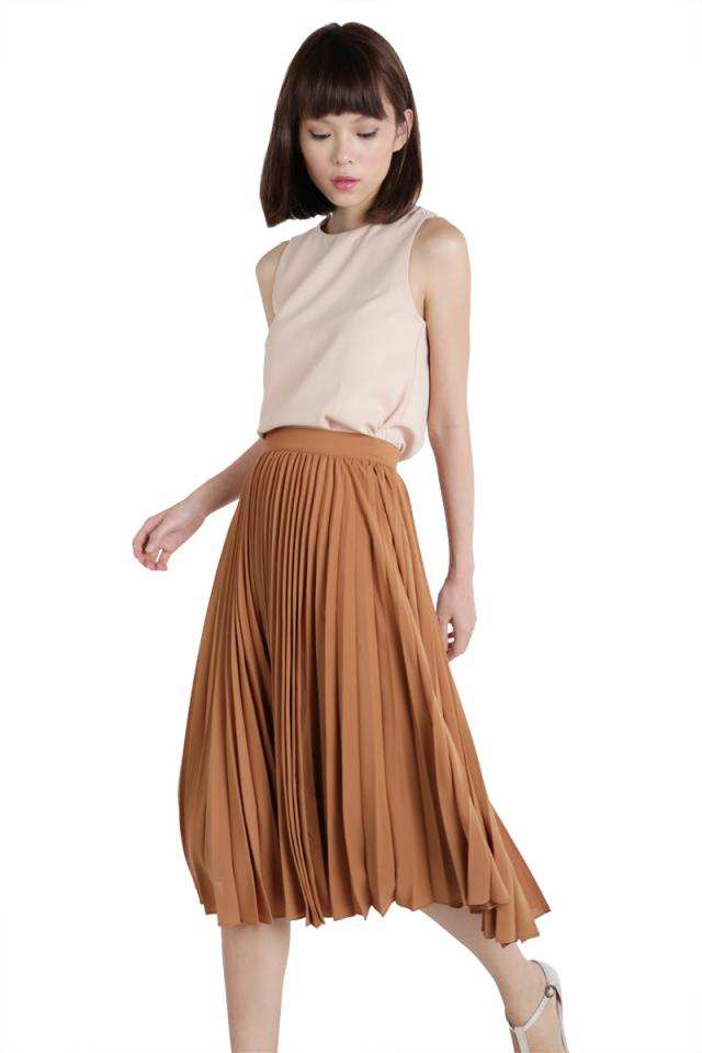 Courtney Pleated Midi Skirt (Camel)
