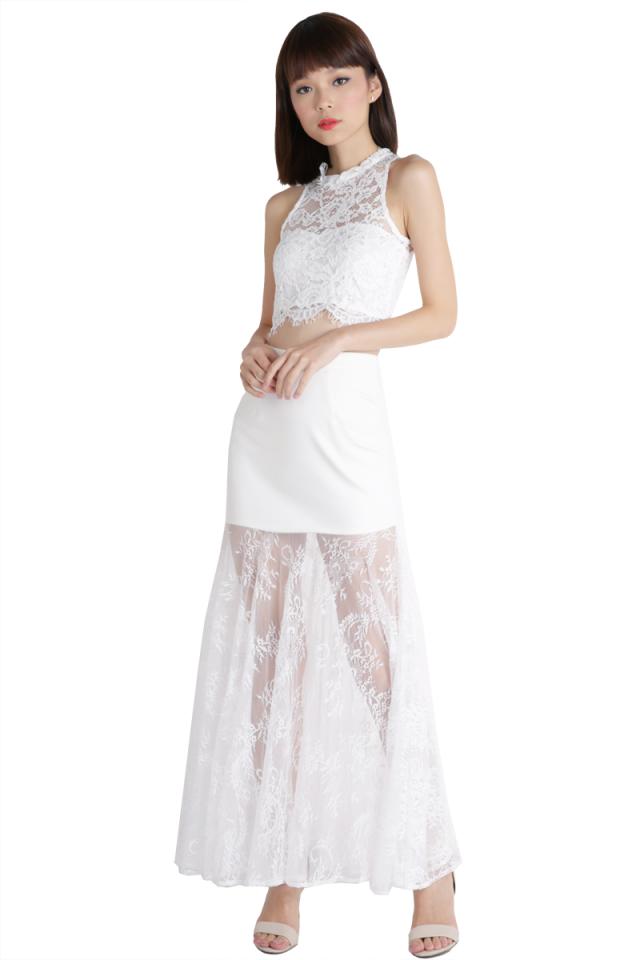 Mermaid Lace Skirt (White)