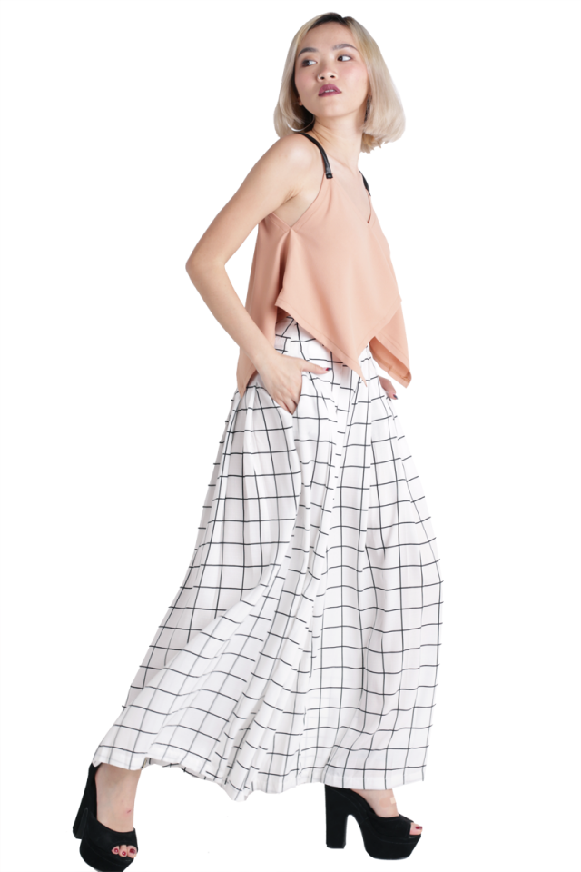 Cory Flare Pants (White Grids)