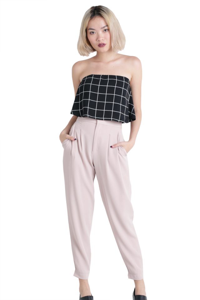 Karma Cropped Top (Black Grids)