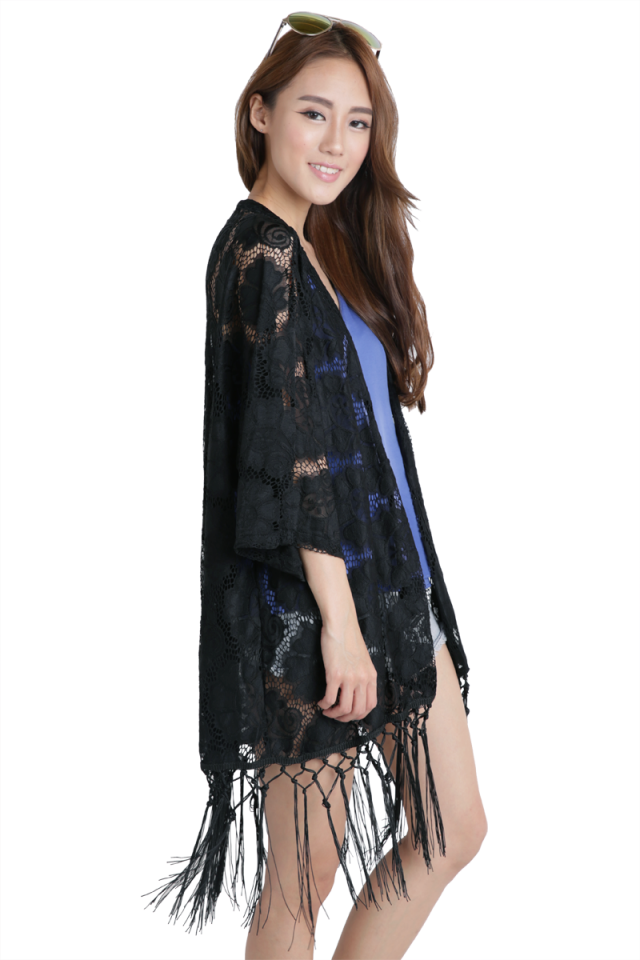 Costa Lace Shrug (Black)