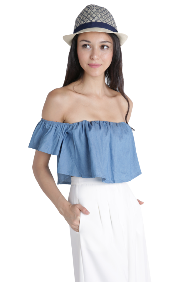 Laneway Off Shoulder Top (Denim)