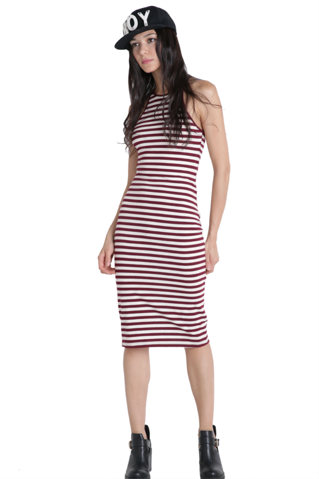 Lorna Cut-in Dress (Maroon Stripes)