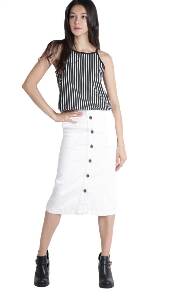 Olivia Split Back Top (Black Stripes)