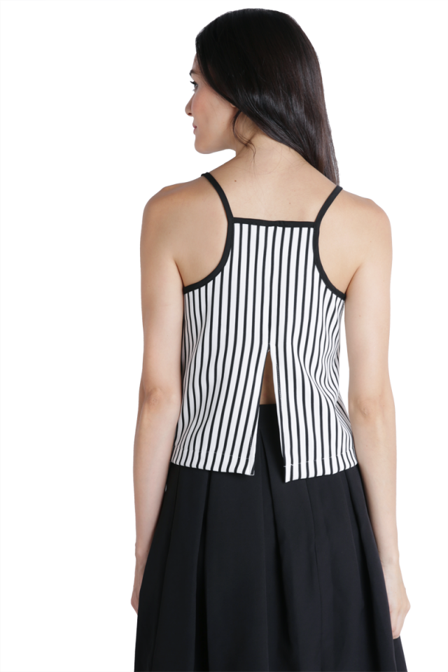 Olivia Split Back Top (White Stripes)