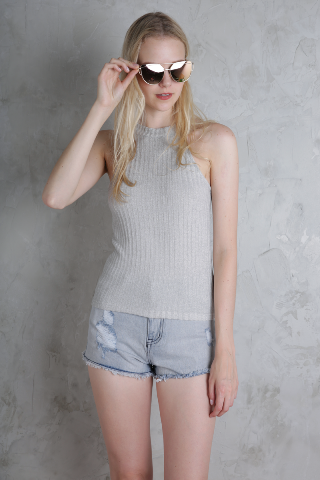 Luna Knit Top (Light Grey)
