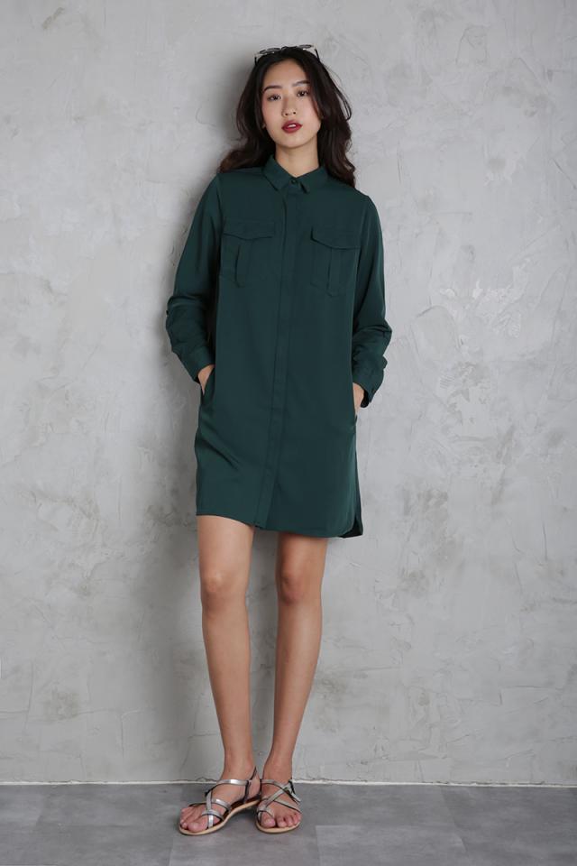 Milford Shirtdress (Forest Green)