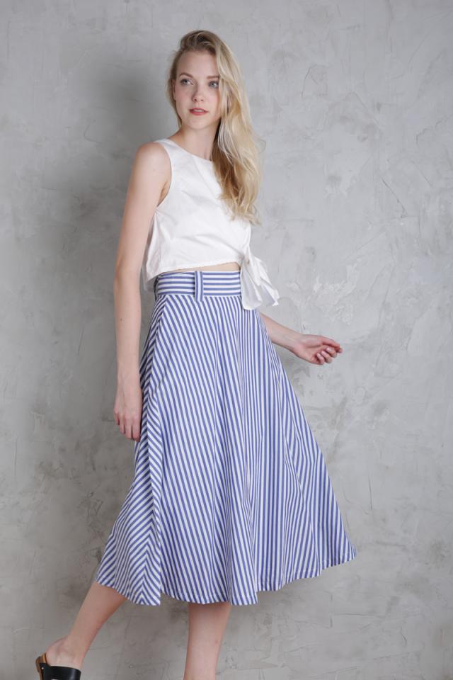 Keaton Midi Skirt (Dark Blue Stripes)