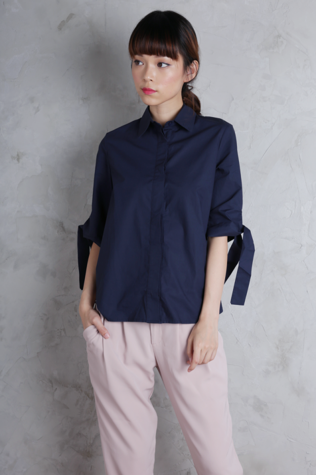 Nora Tie Sleeve Shirt (Navy)